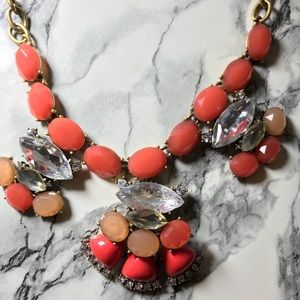 Coral Orange Gold Crystal Statement Necklace